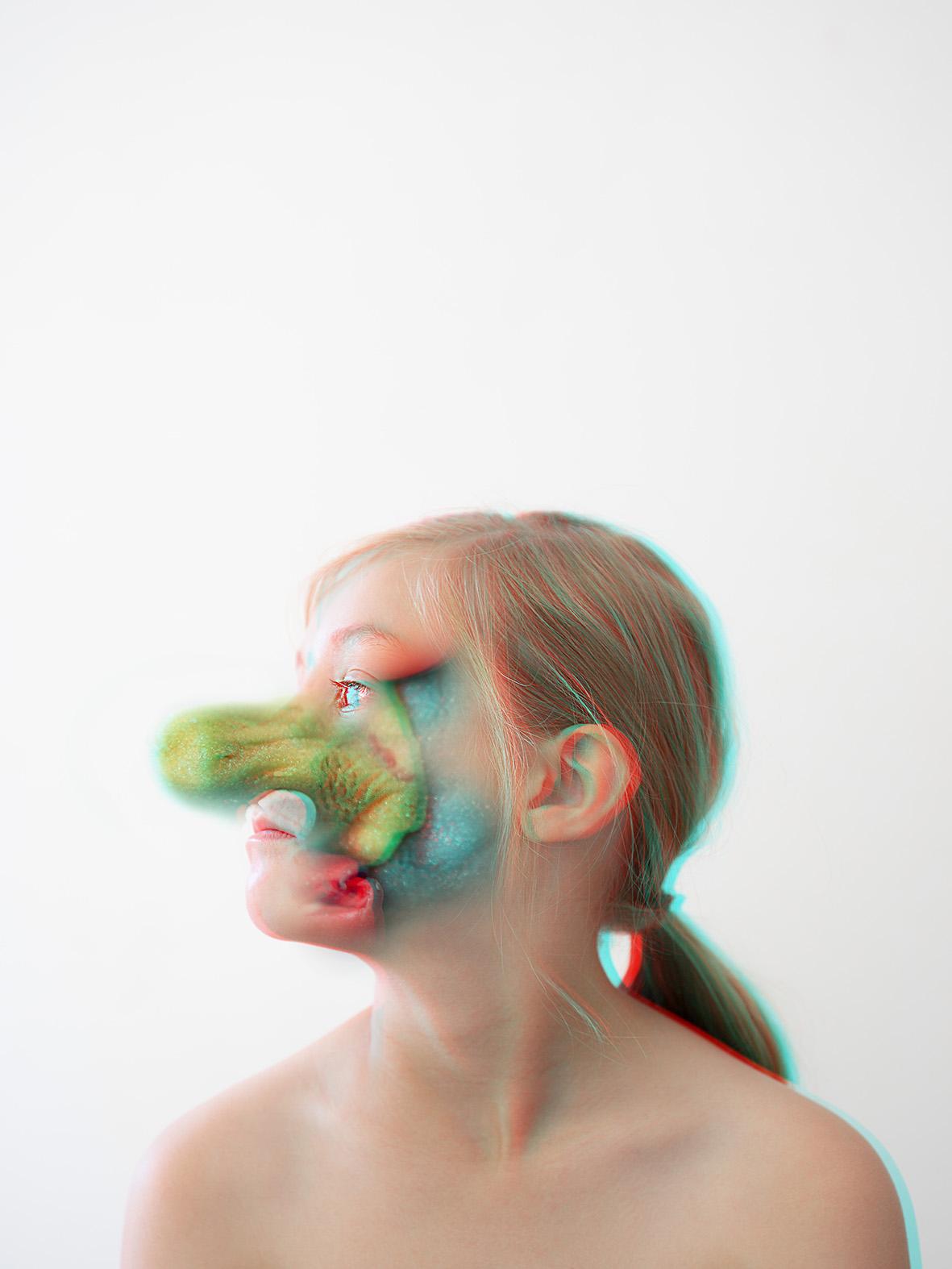 Anaglyph photographic montage portrait